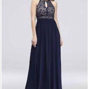 Plus Size Purple Key Hole Halter Dress